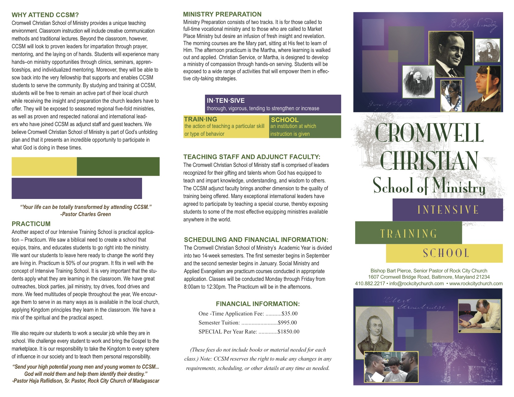 Cromwell Christian School of Ministry CCSM Intensive Training School ITS in Baltimore, Maryland Brochure