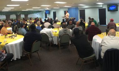 Men's Manhunt breakfast with Bishop Bart Pierce at Rock City Church, Baltimore Maryland.